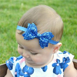 Girls Sequin Hair Accessories Australia - NEW Infant Baby Girls Sequin Bow Headbands Toddler Spring Stretchy Hairwrap 2016 Children's Princess Hair Accessories