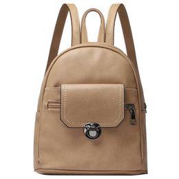Mini feMale backpack online shopping - BEAU New Small Backpack Solid Color Casual Tide Female Bag Large Capacity Mini Bag Female Lock Buckle Backpack