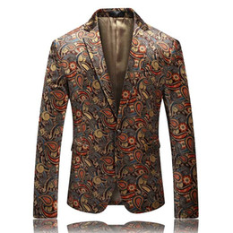 costumes for prom NZ - Velvet Blazer For Men 2019 New Autumn Stylish Mens Printed Blazer Jacket Elegant Prom Club Stage Blazers Male Costume Homme
