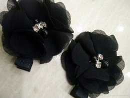 Chiffon Flower Hair Clips Wholesale Australia - BLACK Chiffon Flowers With Pearl Rhinestone Center Artificial Flower Fabric Flowers Children Hair Accessories Baby clips Flower