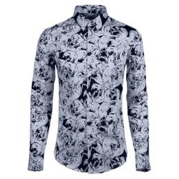 Long Hair Wave Style Australia - Autumn new style European American wave whole body digital printing men's long sleeved shirt hair stylist fashion shirt