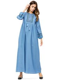 4e9e7d3b6ea Woman Long Sleeve embroidery Maxi Dress Plus Size 4XL Elegant Denim Dresses  Women Spring Autumn Long Jeans Dresses Muslim Robes