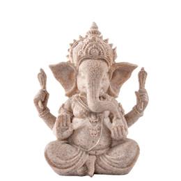 Natural desktop online shopping - 13cm quot Tall Ganesha Statue Fengshui Sculpture Natural Sandstone Craft Figurine Home Desk Decoration Gift