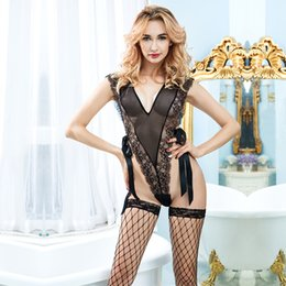 black sheer lace teddy Sexy Lingeries
