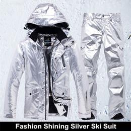 Womens Snow Jackets Australia - Shining Silver Mens Womens Ski Suit Winter  Thermal Waterproof Windproof Snowboarding 2abb1fc37
