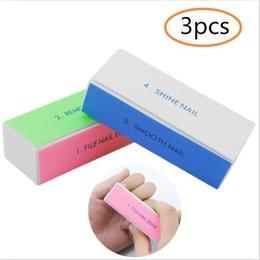 Uv Block Australia - 3pcs Set Nail Buffers File For UV Gel Nail Polish 4-sides Sponge Buffer Block For Art Professional Tools Manicure Care