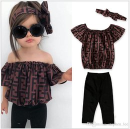 Double breast vest online shopping - INS Girls Summer Clothing Sets Children F Letters Printed Off Shoulder Tops Pants Headband Set Baby Girl Suit Kids Outfits Retail