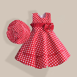 Dot Line Dress Australia - Summer Girl Dress With Hat Red Dot Fashion Bow Girls Dresses Casual A-line Kids Clothes Robe Fille Enfant 3-8t Y19061303