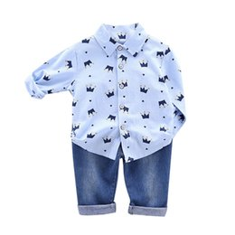 Discount blouse baby collar - Toddler Boys Clothes Autumn Clothing Kids Costume Baby Boys Casual Long Sleeve Crown Print Blouse Tops+Denim Pants Trous