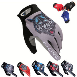 Bicycle Black Ghost Australia - Wolf Head Cool Skull Ghost Full Finger Touch Screen Bike Cycling Gloves Anti-skip Shockproof Breathable Bicycle MTB Sports Glove #334167