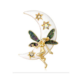 Angels Figures Australia - Fashion Moon Goddess Brooch Pins Cartoon Moon Star Angel with Butterfly Wing Brooches 18K Plated Enamel Rhinestone Pins Jewelry Gifts
