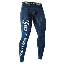 Blue Grey Leggings UK - Men Compression Tight Leggings Running Sports Male Gym Fitness Pants Quick Dry Trousers Workout Training Crossfit Yoga Bottoms