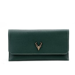 01771356d23 2019 New Fashion Women Long Wallet Pu Leather Deer Heads Design Card Holder  Long Lady Clutch Carteira Feminina S035