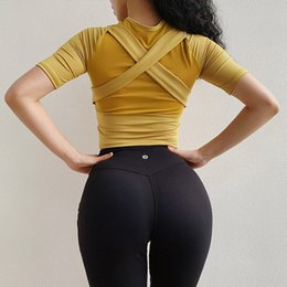 Cropped Tees Australia - Women Mesh Beauty back Yoga Sport Short Sleeve Tee Sport Gym Fitness Elasticity Crop Top Workout Running Sportswear Yoga Shirt #426494