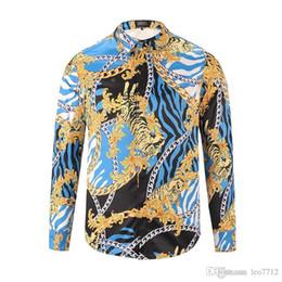 Опт 3d лето печать тигра новая мужская мода роскошный модный дизайнер отдыха роскошная рубашка с длинным рукавом мужчины медуза азиатский размер