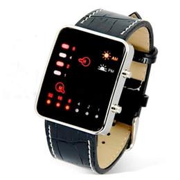 $enCountryForm.capitalKeyWord UK - Men's Fashion Sports Digital Binary LED Display Waterproof 50m Faux Leather Strap Wrist Watch Fashionable Gift #1129