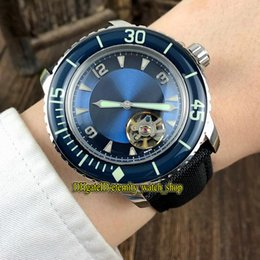 mens sports watches nylon strap NZ - 2 Color FIFTY FATHOMS 5025-1530-52 Blue Dial Tourbillon Automatic 5015-1130-52A Luminous Mens Watch Silvery Case Nylon Strap Sport Watches