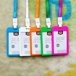 Discount long lanyards - Hot Candy Colors Credit Card Holders Bus Id Holders Card Neck Strap Card Name Women Men Bank Identity Badge With Lanyard