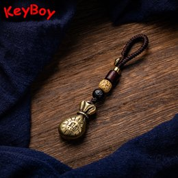 pure key NZ - Wealth Money Bag Car Key Pendant Vintage Pure Brass Lucky Keychain Hanging Jewelry Metal Copper Woven Rope Fashion Keyring Gifts