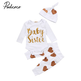 sisters clothing set 2020 - Toddler Newborn Infant Baby Girls Lovely Brief Clothes Set Clothing Sister Cotton Long Sleeve Bodysuit Top Pants Hat Out