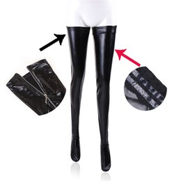 Black Pole Wholesales Australia - Women Sexy Latex Zipper Stockings Lady's Black PVC Pole Dance Leather Erotic Clubwear Length Over Knee High Stockings