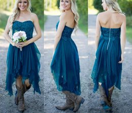 teal laces Australia - High Low Country Style Lace Bridesmaid Dresses For Wedding Teal Chiffon Beach Ruffles Prom Party Maid Honor Gowns DG1990