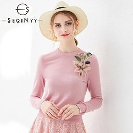 $enCountryForm.capitalKeyWord UK - SEQINYY Fashion Sweater 2020 Spring Autumn New Fashion Design Long Sleeve Knitting Romantic Lily Flowers Brooch Women Pullover