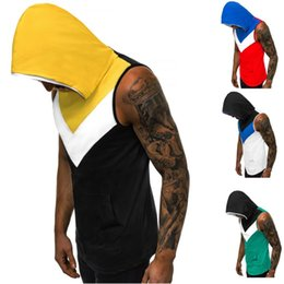 Musculation Men online shopping - Contrast Color Sleeveless Hoodie Men Fitness Bodybuilding Vest Fashion Workout Cotton Gym Clothing Musculation Ropa De Hombre