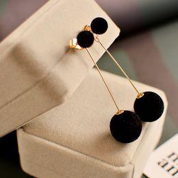 $enCountryForm.capitalKeyWord Australia - Sale 2019 Red Black Cute Ball Velvet Drop Earrings for Women Round Long Tassel Feather Earrings Statement Weddings Jewelry