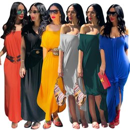 a022f719c18 Women designer short sleeve maxi Dresses Long skirts Sexy Casual Summer  Clothes Plus Size S-3XL loose dress pure color
