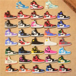 christmas gift shoes NZ - Mix Cute Silicone basketball shoes Key Chain A J1 Sneaker Keychain Kids Key Rings Key Holder for Woman and Girl Christmas Gifts