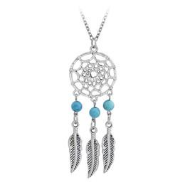 fb4c5d19a73c Ancient Silver Indian Dream captura de la borla de la pluma colgante collar  collares para mujeres turquesa Dreamcatch joyería DROP SHIP 161814