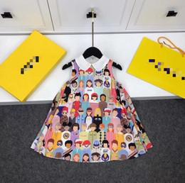 Опт 2019 дети девочки печать письмо платья характер платье причинно-следственная летнее платье Оптовая одежда