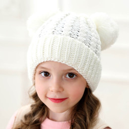 hat double ball cap knitted Australia - Kids Winter Beanie Hats Children Knitted Hat With Double Fur Ball Baby Crochet Pompom Caps Outdoor Warm Cap 12 styles GGA2627