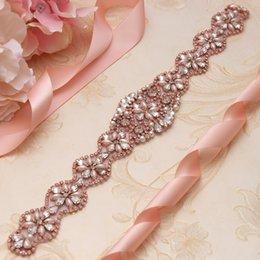 Vente en gros Ceinture de mariage ceinture strass Rose Or cristal ruban strass pour la soirée de mariage Ceinture et ceinture YS806