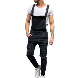 плюс размер комбинезонов оптовых-Men US Size Jeans Jumpsuit Fashion Plus size Men s Ripped Jeans Jumpsuits Vintage Distressed Denim Bib Overalls Playsuit