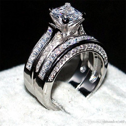Princess cut gemstone rings online shopping - Luxury Jewelry KT white gold filled Wedding Band Ring finger For Women in ct mm Princess cut Topaz Gemstone Rings Set
