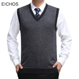 $enCountryForm.capitalKeyWord Australia - EICHOS Mens Sleeveless Pullover V Neck Business Casual Sweater Vest Men Computer Jacquard Cotton Male Sweater Vest