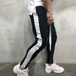 skinny trousers NZ - Casual Pants Men Hip Hop Skinny Trousers Track Bottom Sweatpants Streetwear Man Pant Side Stripe Fashion Mens Joggers Pants