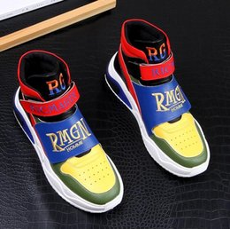hip hop casual shoes Australia - Men street Fashion Punk hip-hop mixed color high tops Loafers Casual Flats Shoes 2019 Male Prom shoes Ankle boots Sapatos Tenis Masculino