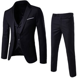 fitted piece dresses 2019 - LAAMEI Mens 3 Pieces (jacket + Vest + Trouser) Male Busines Dress Slim Fit Suits Solid Casual Office Suits Outwear Asian