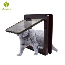 open gate Australia - Mrosaa Intellgence Control 4 Way Cat Doors ABS Animal Small Pet Cat Dog Gate Door Pet Supplies Safe Flap Door Kitten Opening oor