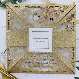 $enCountryForm.capitalKeyWord Australia - Wedding Party Glitter Invitation Romantic Decorative Cards Envelope Delicate Carved Pattern Wedding Invitations Party Supply free shipping