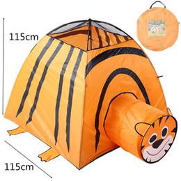 $enCountryForm.capitalKeyWord Australia - Play Tent House Folding Children Kids Tiger In Outdoor Portable Tiger Cartoon Animal Large Pop Up Ball Pool Pit Fairy House