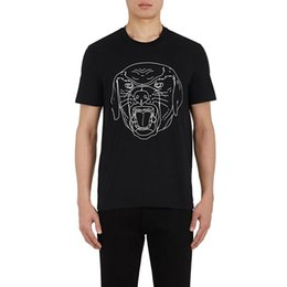 Mens lined shirts online shopping - Luxury Mens Designer T Shirt Men Women High Quality Short Sleeves Fashion Couples Summer Cotton Line dog head Printing T Shirt Black White