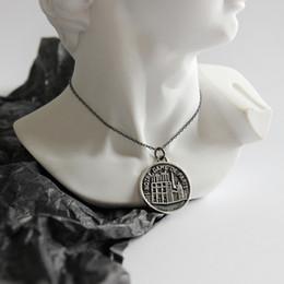 Necklaces Pendants Australia - Fashion Notre Dame De Pairs Pattern Necklace Designer Retro Sterling Silver Pendant Necklace Brand Classic Wild Coin Shape Chain