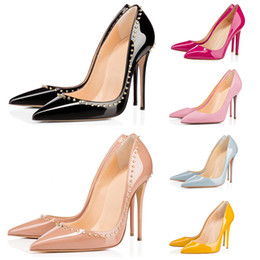 Wholesale 2020 red bottom fashion high heels for women party wedding triple black nude yellow pink glitter spikes Pointed Toes Pumps Dress shoes