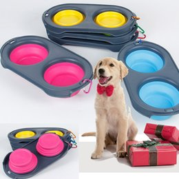 $enCountryForm.capitalKeyWord NZ - Collapsible Pet Dog Feeders Bowls Silicone Cat Double Feeder Bowl Travel Eco Friendly Cat Foldable Dog Supplies with Carabiner HH9-2106
