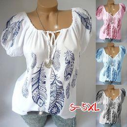 $enCountryForm.capitalKeyWord Australia - 2019 new women's fashion summer women's fashion short sleeve v-neck print lace-up top casual T-shirt stock