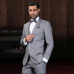 $enCountryForm.capitalKeyWord Australia - Gray Men Suits Wedding Suits Custom Made Groom Wear Tuxedos Blazer Jacket 3Piece Vest Pants Slim Fit Formal Best Man Costume Evening Party